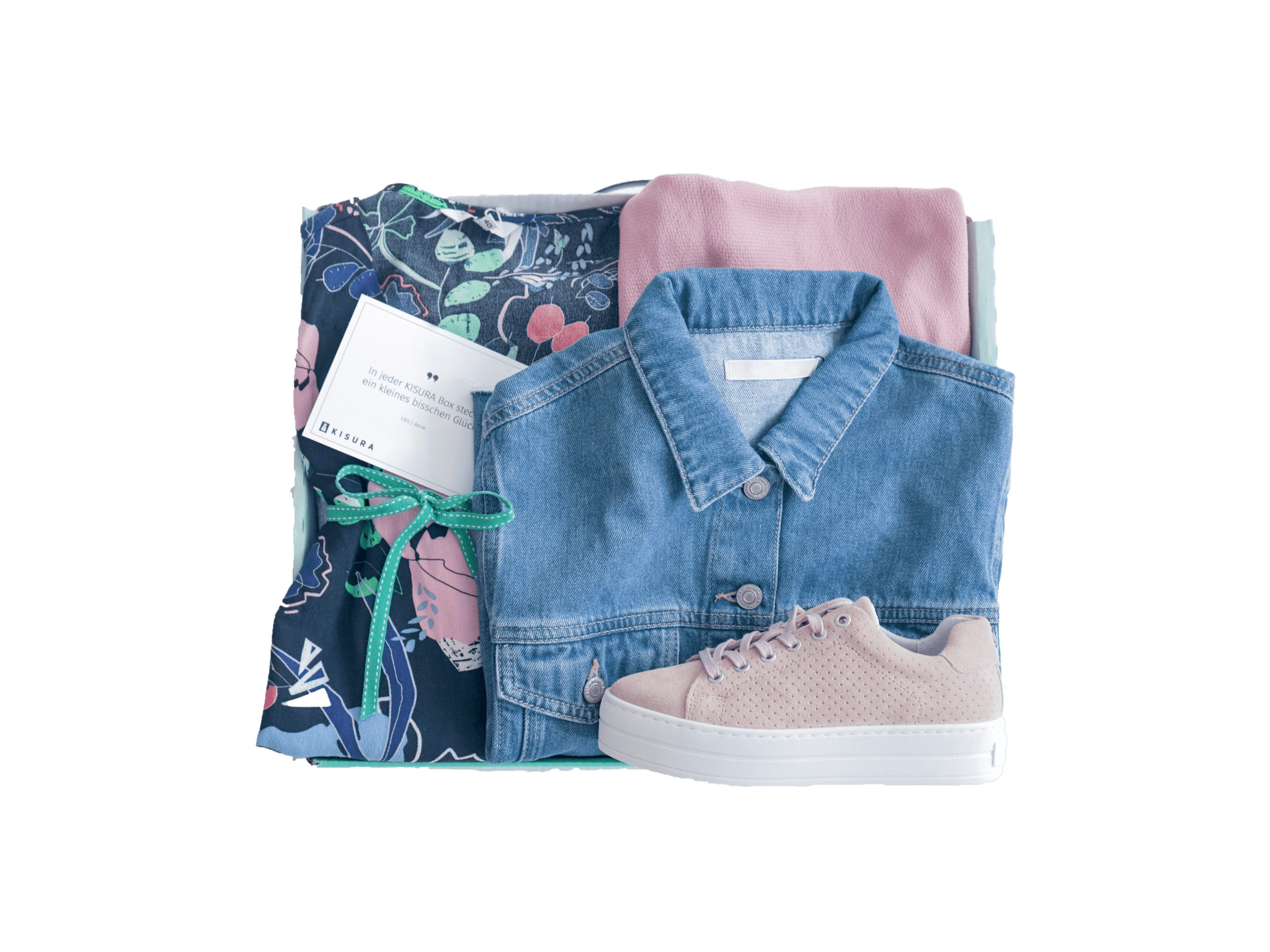 Outfitbox mit Jeansjacke, rosa Sneakern und Blumenbluse