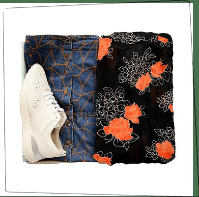 Stylingbox mit Blazer, Sneaker und Jeans