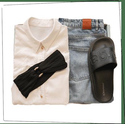 Stylingbox mit Hemd, Pullover und Accessoires